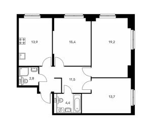 Планировка 3-комнатной квартиры в Павлова 40